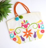 Punchy's Otomi Jute Tote with Pom Poms