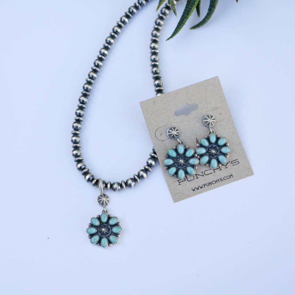 Punchy's Campetos Flower Pendant Necklace and Earring Set