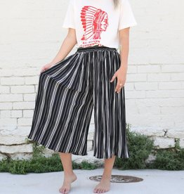 Punchy's Black and White Striped Pleated Gaucho Pants