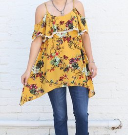 Punchy's Mustard Floral Cold Shoulder Top