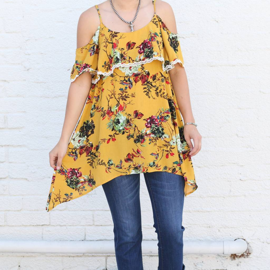 f62591d67cc6ff Mustard Floral Cold Shoulder Top