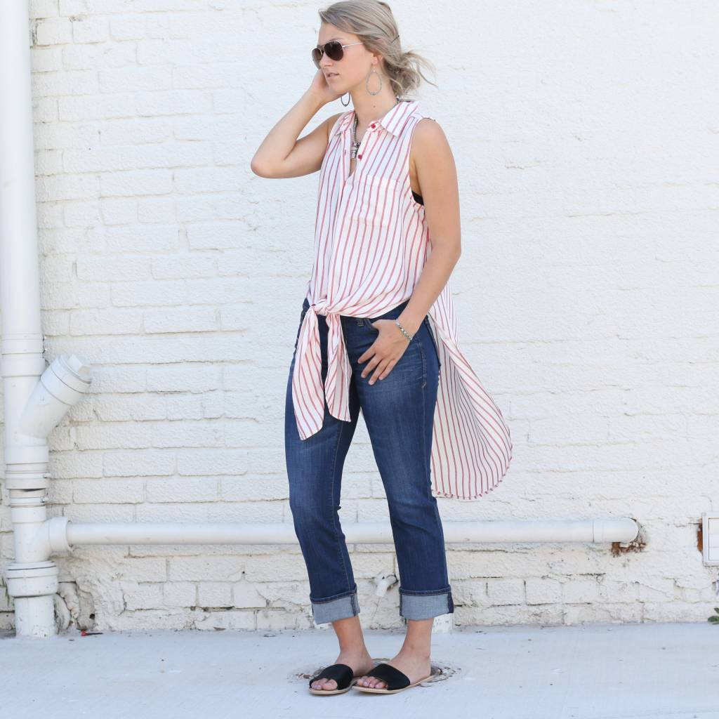 Punchy's Striped Sleeveless Button Up Tunic
