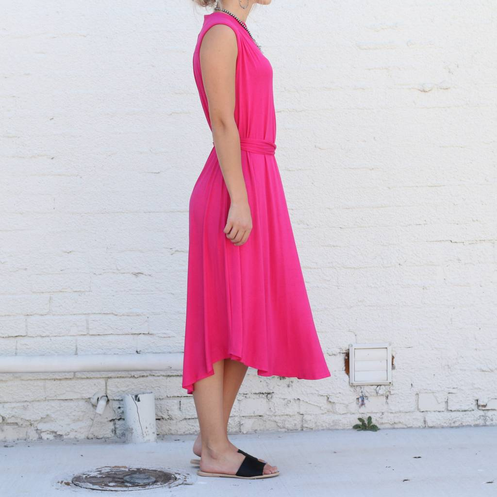 Punchy's V Neck Midi Tie Dress