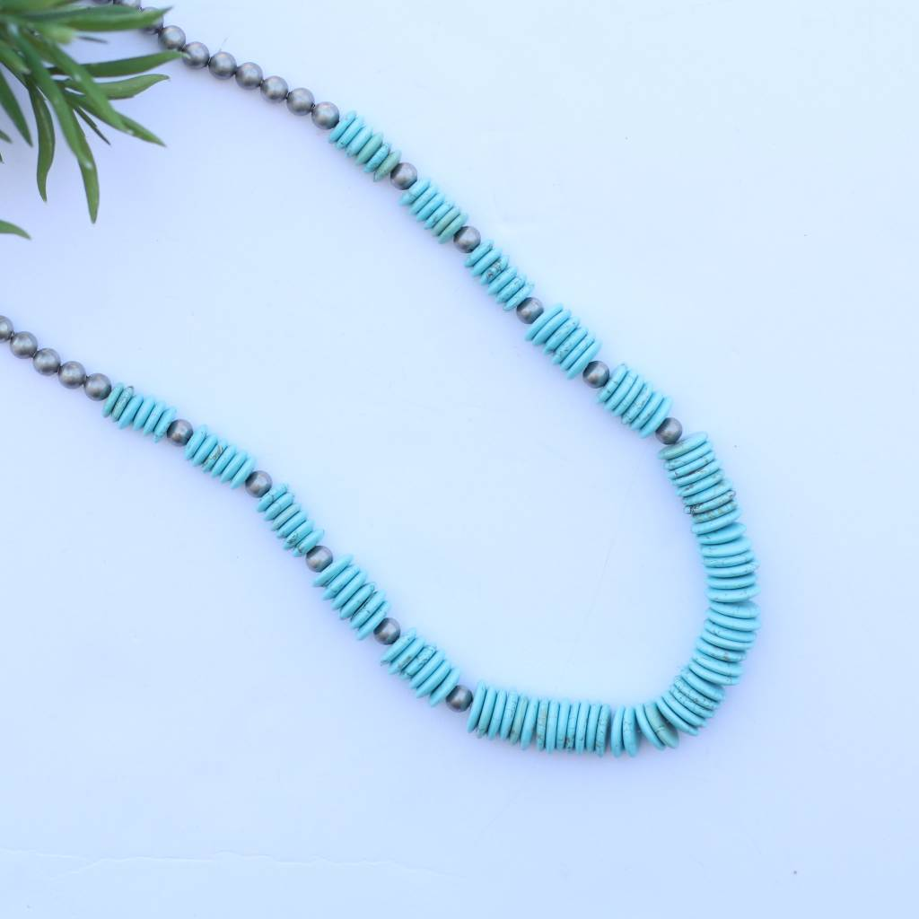 Punchy's Turquoise Graduated Disc Bead with Silver Bead Accent Necklace