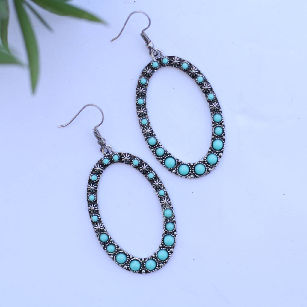 Punchy's Burnished Silver Oval Earring with Turquoise Stone Inlay