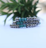 Punchy's 3 Strand Silver with Round Turquoise Beads Stretch Bracelet