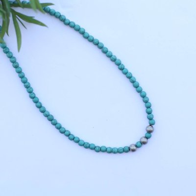 "Punchy's 14"" Single Strand Mini Turquoise Necklace with Silver Accent"