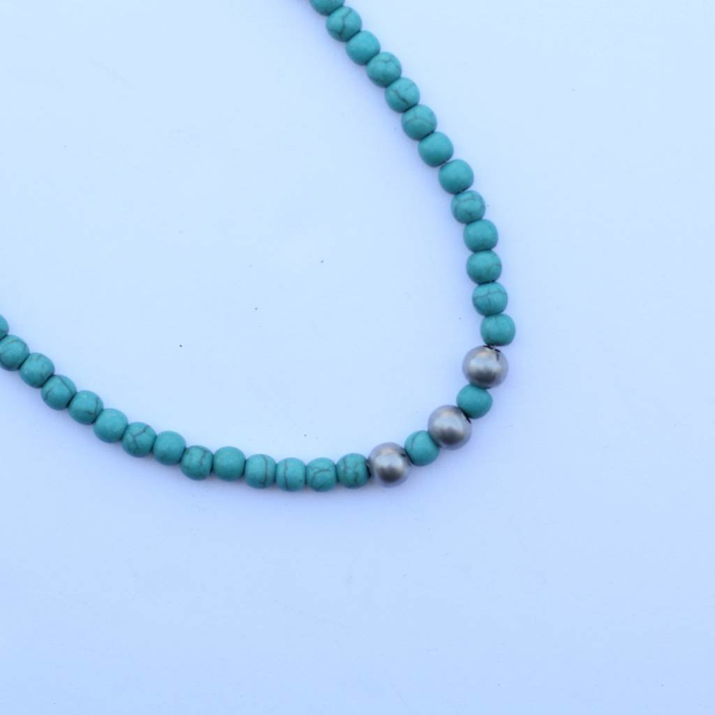 """Punchy's 14"""" Single Strand Mini Turquoise Necklace with Silver Accent"""