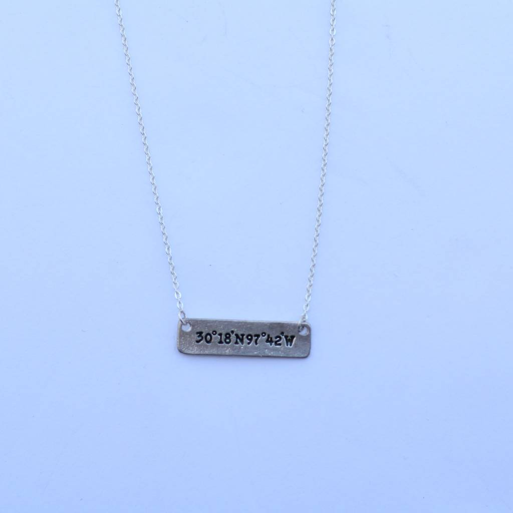 Punchy's Burnished Silver with Gold Texas Bar Chain Necklace