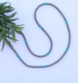 "Punchy's 30"" Single Strand Saucer Bead and Turquoise Necklace"