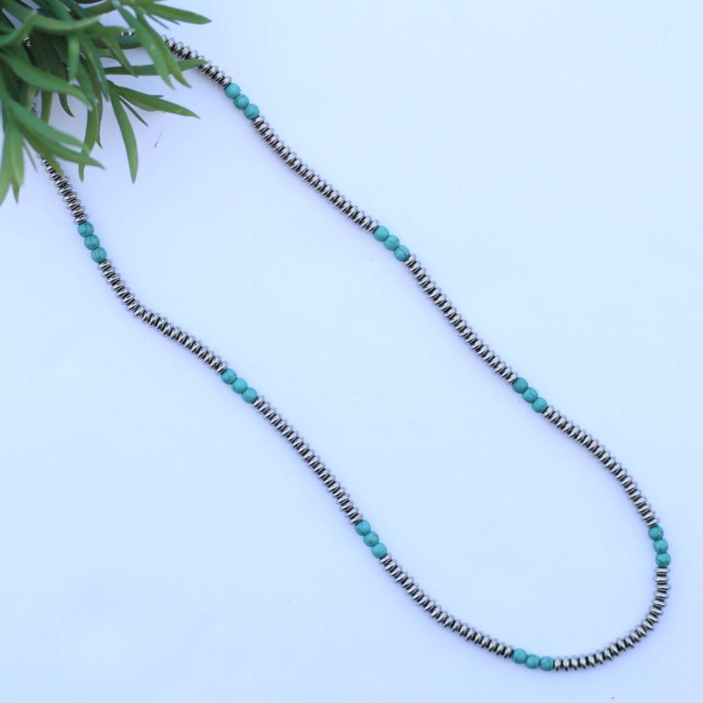 """Punchy's 30"""" Single Strand Saucer Bead and Turquoise Necklace"""