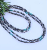 """Punchy's 66"""" Single Strand Saucer Bead and Turquoise Necklace"""