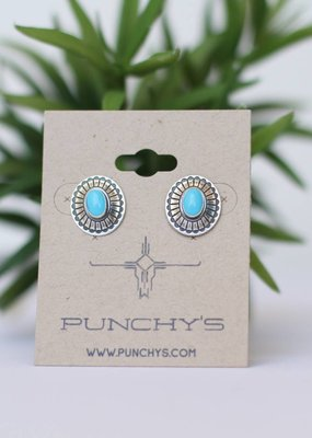Punchy's Oval Concho and Turquoise Stud