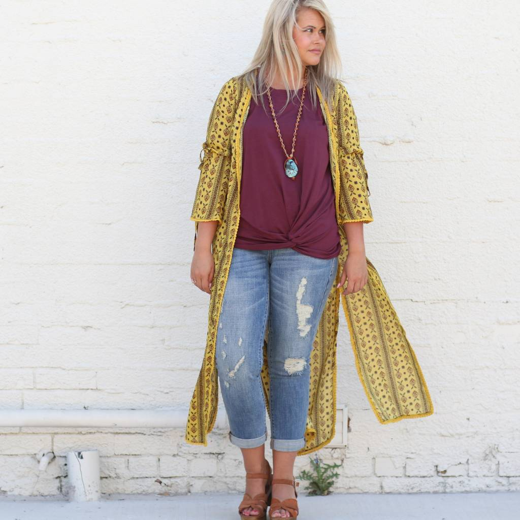 Punchy's Mustard Vintage Print Duster