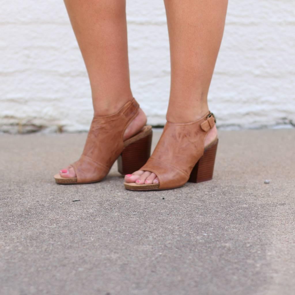 Punchy's Leather Slingback Peep Toe Block Heel