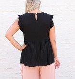 Punchy's Black Babydoll Embroidered Top