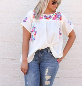 Punchy's Cream Floral Embroidered Top