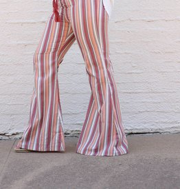 Punchy's Peach Striped Bell Bottom Pant