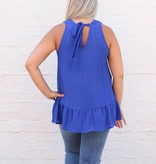 Punchy's Royal Blue Embroidered Peplum Tank
