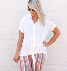 Punchy's White Button Up Front Tie Blouse