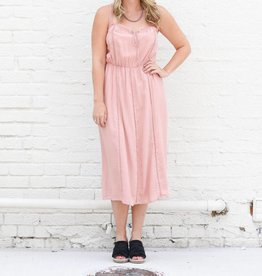 Punchy's Lace Trim Dusty Rose Midi Dress