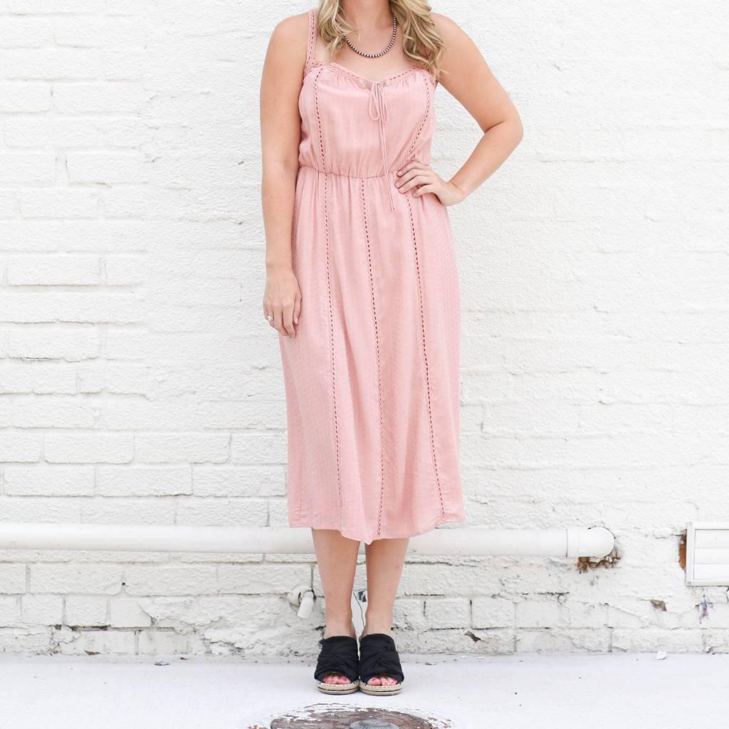 Punchy's Lace Trim Dusty Rose Midi Dress