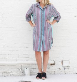 Punchy's Lavender Turquoise Button Down Dress