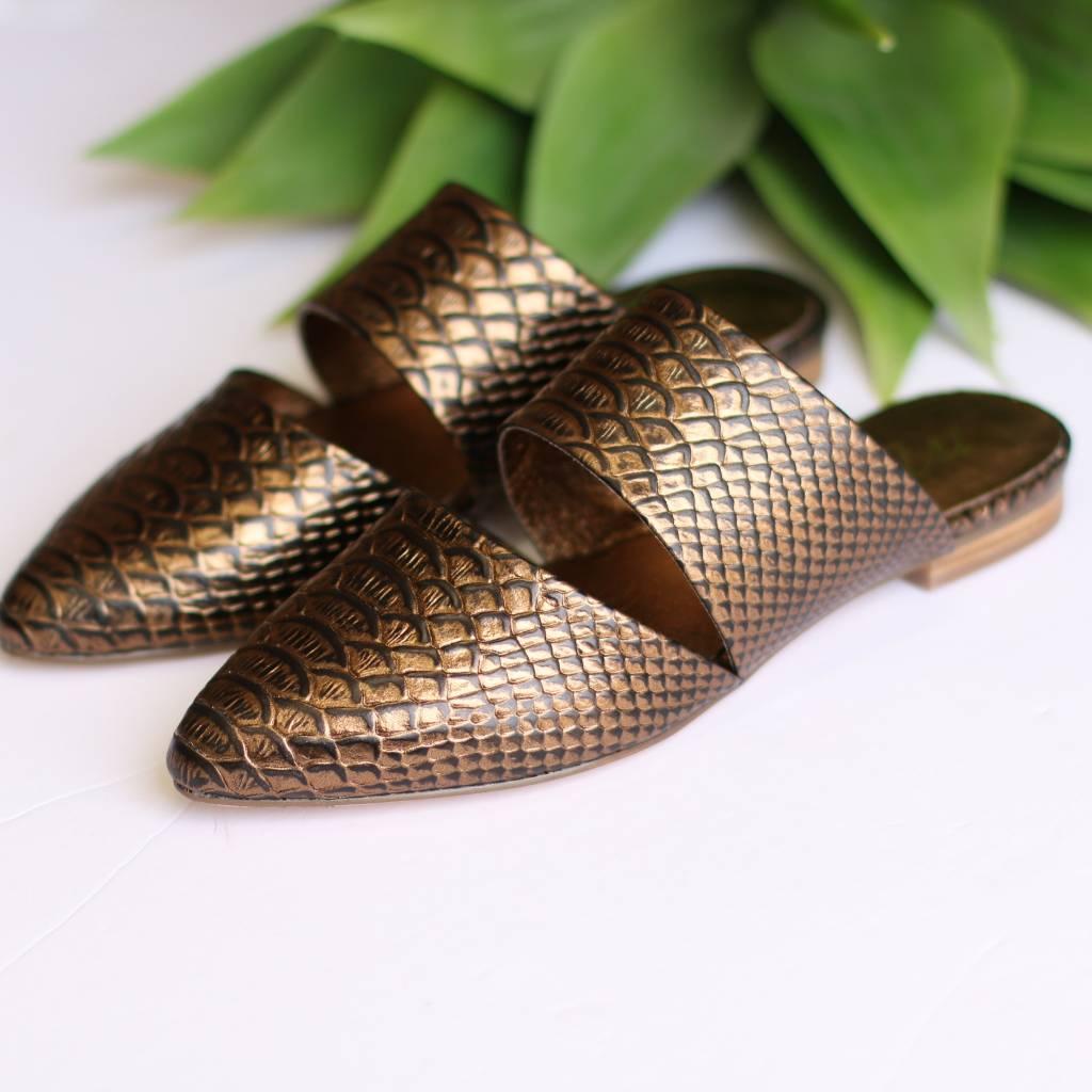 Punchy's Bronze Snake Print Slip On Mules