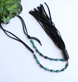 Punchy's Agate Turquoise Necklace with Black Leather Tassel