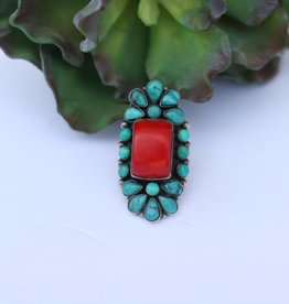 Punchy's 7 1/4 Coral & Turquoise Ring