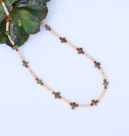 """Punchy's 29"""" Turquoise Heishe and Viet Coral Stone Necklace"""