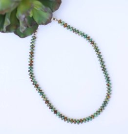 "Punchy's Green Turquoise 23"" Oval Bead Necklace"
