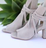 Punchy's Grey Suede Peep Toe Heels