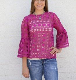 Punchy's Fuchsia Bell Sleeve Crochet Top