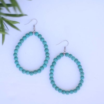 Punchy's Turquoise Beaded Hoop Earring