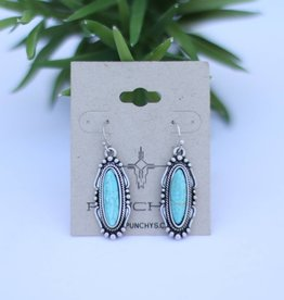Punchy's Silver Oval Earring with Turquoise Stone on Fish Hook Backs