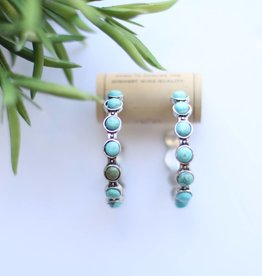 Punchy's Silver Hoop Earring with Spaced Round Turquoise Stones