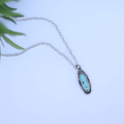 Punchy's Small Elongated Navajo Pendant with Turquoise Stone on Silver Chain