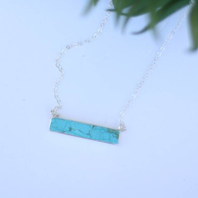 Punchy's Dainty Silver Necklace with Turquoise Bar