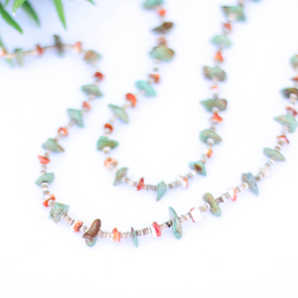 Punchy's Green Turquoise Spiney and Heishe Long Necklace