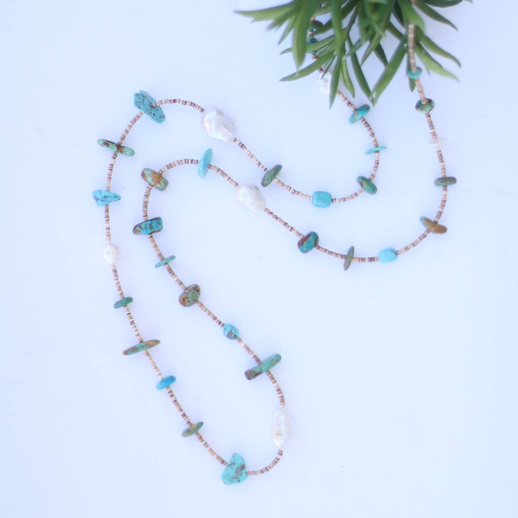 Punchy's 46in Multi Turquoise Pearl and Heishe Long Necklace
