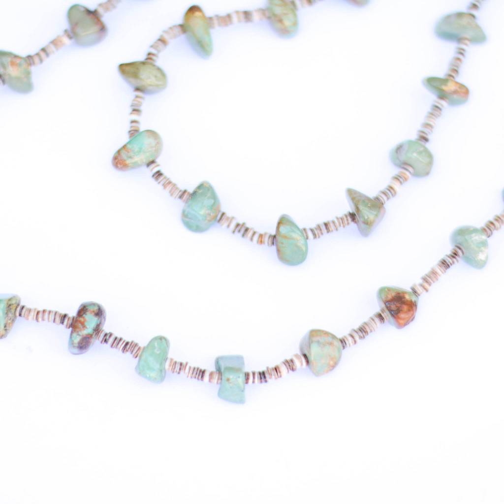 Punchy's 47in Green Turquoise and Heishe Long Necklace
