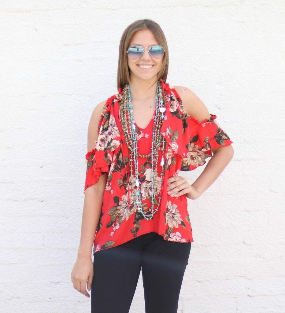Punchy's Grace Red Floral Cold Shoulder Blouse
