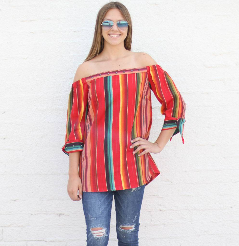 Punchy's Red Serape Off the Shoulder Top