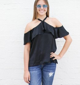 Punchy's Silky Black Halter Blouse