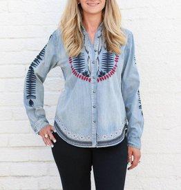 Punchy's Southwest Embroidered Denim Long Sleeve Shirt