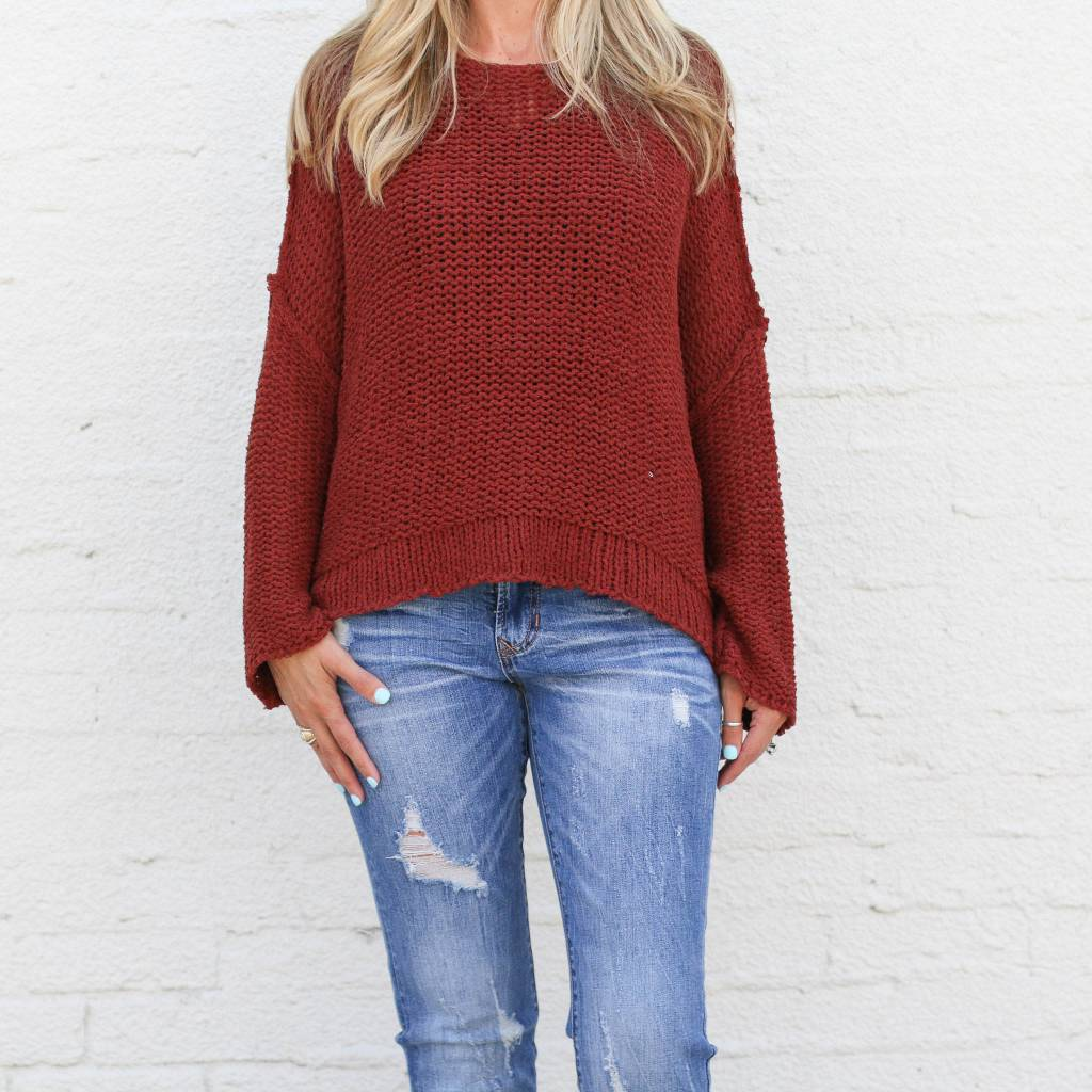 3c0e31242 Punchy s Thick Knit Open Sleeve Boxy Sweater - PUNCHY S