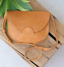 Punchy's Cognac Leather Crossbody Saddle Bag
