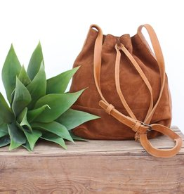 Punchy's Rust Suede and Cognac Leather Bucket Bag