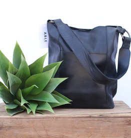Punchy's Black Wide Leather Strap Bucket Bag